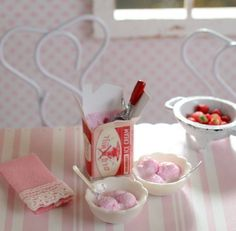 Miniature Strawberry Ice Cream for Two by CuteinMiniature on Etsy
