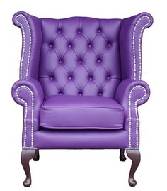 Chesterfield Queen Anne High Back Wing Chair UK Manufactured Purple, Traditional Sofas