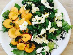 >Recipes>Nectarine Salad with Burrata and Chilli Mint Dressing Nectarine Salad with Burrata and Chilli Mint Dressing Nectarine Salad, Mint Dress, Cobb Salad, Cantaloupe, Dressing, Herbs, Fruit, Recipes, Food
