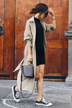 Casual street style. Black dress, trench coat, and sneakers Street style, street fashion, best street style, OOTD, OOTD Inspo, street style stalking, outfit ideas, what to wear now, Fashion Bloggers, Style, Seasonal Style, Outfit Inspiration, Trends, Looks, Outfits.