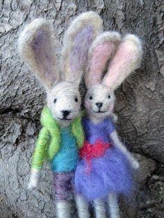 Needle Felted Animal Bunny couple Girl and Boy by boridolls, $62.00