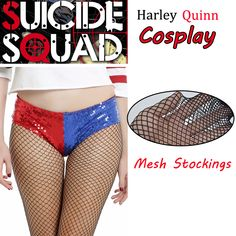 300d2ded557f (b4) DC Comics Harley Quinn Women Tights Hollow Lace up Pantyhose