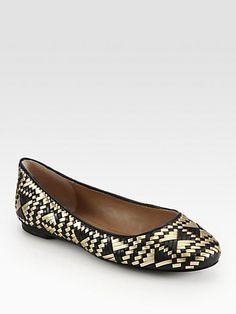 Rebecca Minkoff - Uma Woven Metallic Leather Ballet Flats - Saks.com  Metallic Flats b1cba5989