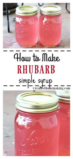 Rhubarb Simple Syrup Recipe for homemade rhubarb simple syrup to freeze or can. Use this simple syrup to flavor cocktails, lemonade, iced tea, or enjoy on your favorite ice cream or yogurt. Easy recipe for beginning canners. Rhubarb Syrup, Rhubarb Tea, Rhubarb Jelly, Rhubarb Cocktail, Rhubarb Wine, Freeze Rhubarb, Rhubarb Desserts, Rhubarb Recipes Simple, Gastronomia