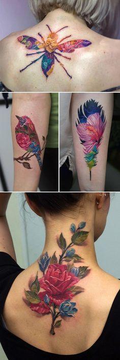 Double Exposure Tattoos by Andrey Lukovnikov