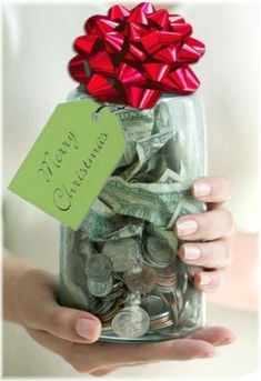 "What a great tradition to start.... Have family put money in mason jar throughout year. At Christmas time, choose someone to bless (anonymously). On Christmas eve, deliver by Ring and Run. You could also donate the $$ to a charity selected as a family.  Must read the book ""The Christmas Jar"" it explains how it all started."