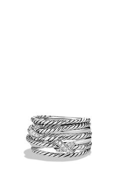 David Yurman Double 'X Crossover' Ring with Diamonds available at #Nordstrom