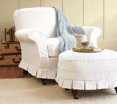 Savannah Slipcovered Chair & Ottoman | Pottery Barn $809 +$494