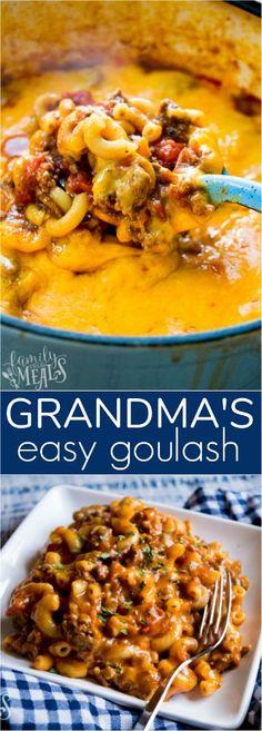 Grandma's Easy Goulash Recipe -- #recipe #goulash #onepot #easyrecipe #familyfreshmeals #familyrecipe