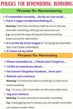 Phrases for Remembering and Reminding