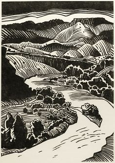 """Chama River, 2006, woodcut print, 24.25"""" x 18.5"""" THAYER CARTER http://www.thayercarter.com/TC-gallery.html"""
