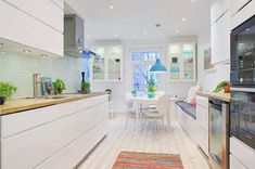 weiße Küche Deckenleuchten Teppich