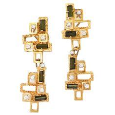 1960s Chantecler Diamond Tourmaline Gold Earrings | From a unique collection of vintage dangle earrings at https://www.1stdibs.com/jewelry/earrings/dangle-earrings/