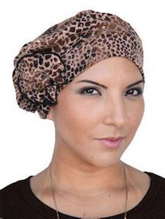 CHEMO CAPS  LEOPARD BERET  REMOVABLE FLOWER PIN Beret 28c9b8c3569