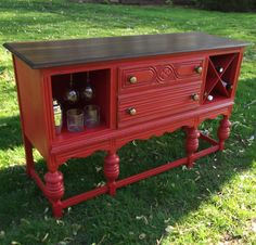 Distressed Buffet / Bar Popping with Color Furniture Update, Furniture Making, Furniture Makeover, Chalk Paint Furniture, Furniture Decor, Colorful Furniture, Antique Buffet, Wood Wine Racks, Repurposed Furniture