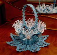 www.crochetmemories.com/blog Pattern for a ruffled Easter basket worked in thread