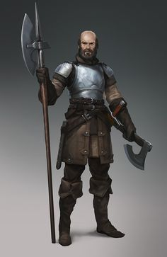 Male warrior, bald on top, brown beard, with steel breastplate, handaxe, and bardiche. (Medieval dude by ~Zoonoid on deviantART)