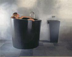 cozy amp warm tub trends, bathroom ideas, home decor, Black Granite Soaking Tub Maybe for the space challenged bathroom