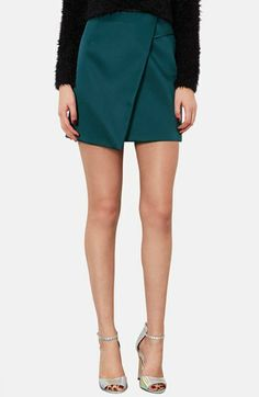 Topshop Duchesse Satin Faux Wrap Skirt from @Nordstrom