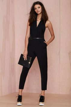 Nasty Gal Champagne Room Tuxedo Jumpsuit