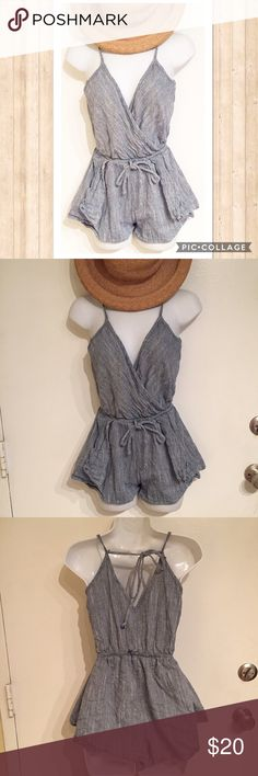 Textured Chambray Peplum Romper Textured Chambray Peplum style Romper. Ties in the back. Size small. #textured #chambray #peplum #romper #small #ties #beach #springbreak #summer #vacation #outfit #punkydoodle No modeling Smoke free home  I do discount bundles MilliBon  Pants Jumpsuits & Rompers