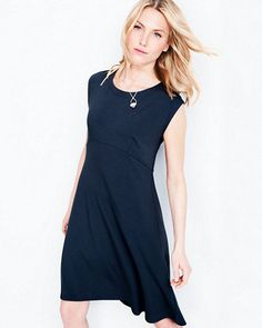 This put-together dress by Eileen Fisher features an empire waist, curved seams, and an asymmetrical hem, and easily shifts into dress-up mode with a few well-chosen accessories.