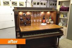 A bar cart hidden inside of a Craiglist purchased piano.