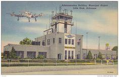 Airplane landing at airport , LITTLE ROCK , Arkansas , 30-40s