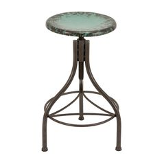 Bar Stool with Distressed Green Finish.