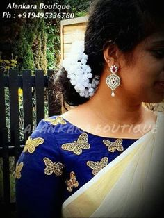 Kerala Saree, Indian Sarees, Blouse Patterns, Blouse Designs, Set Saree, Butterfly Embroidery, Blouse Styles, Saree Blouse, Simple Designs