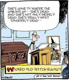 CartoonStock - Wicked Old Witch Eulogy. Halloween Cartoons, Happy Halloween, Halloween Humor, Halloween Pictures, Halloween Projects, Halloween Ideas, Funny Cartoons, Funny Comics, Political Cartoons