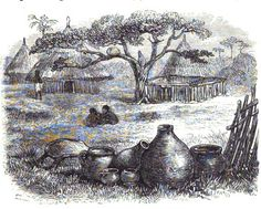 Pottery in village in Uzavira, 1870's, Central Africa.