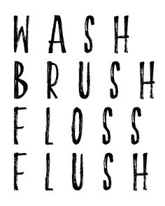 Wash, Brush, Floss, Flush Printable for reminding your family to get cleaned up with brushing, flossing, washing, and flushing the toilet.