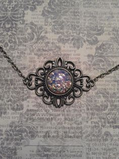 Vintage 1940's Czech Harlequin Opal Art Glass in Bronze Filigree Pendant Setting on Necklace