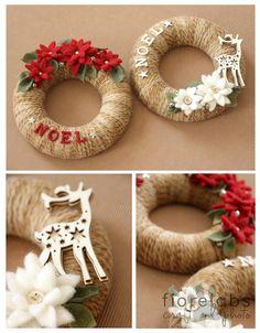 Love the color yarn wrap Easy Christmas Crafts, Diy Christmas Ornaments, Felt Christmas, Rustic Christmas, Christmas Projects, Simple Christmas, Christmas Holidays, Handmade Ornaments, Handmade Christmas
