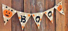 BOO Polka Dot Burlap Banner for Halloween