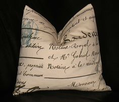 "French Script Decorative Pillow 16 inch Throw Pillow Cover 16"" Spa BLUE, brown on Natural ONE"