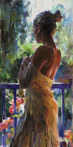"""Her Moment"" - Michael and Inessa Garmash, oil on canvas {contemporary figurative beautiful female young woman profile painting #loveart #2good2btrue} garmash-artist.com"