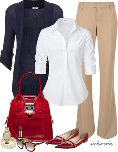 Navy Cardigan + White Button Up Blouse + Khaki Slacks + Red Shoes + Red Bag