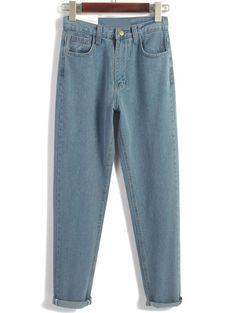 Vintage High Waist Denim Blue Pant