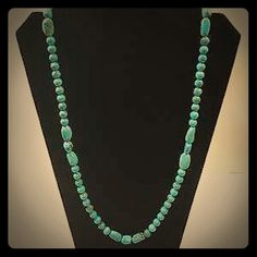"""Jay King DTR Blue Gem Turquoise Bead Necklace Rare vintage Jay King DTR Mind Finds 40"""" long beaded Blue Gem turquoise necklace. It has a round Sterling Silver jewelry tag with the DTR hallmark and is stamped .925. The necklace can be worn doubled looped, as well as a single strand, and is gorgeous to behold in either style. Stunningly beautiful natural turquoise necklace in mint condition. This necklace is 40"""" inches long with roughly 8mm round & oval shaped natural Turquoise gemstone beads…"""
