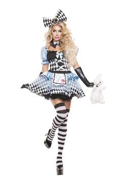 Bow and clock accented hair piece, and black collar with light blue bow. Stockings, gloves, and rabbit not included.