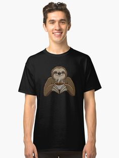 Cute sloth relaxing with a cup of coffee. / An great gift for sloth and coffee lovers. Chocolate Lovers, Hot Chocolate, Sloth Stuff, Three Toed Sloth, Sloth Shirt, Cute Sloth, Sloths, Coffee Lovers, Coffee Cup