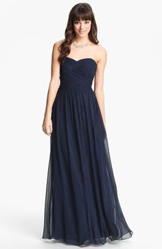 Here is the PERFECT Bridesmaid gown from Nordstrom $148 . JS Boutique Strapless Ruched Chiffon Gown | Nordstrom