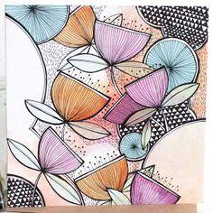 Mandala Design, Mandala Art, Art And Illustration, Zentangle Drawings, Art Drawings, Zentangles, Flower Doodles, Zen Art, Watercolor And Ink