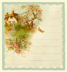 Rewards of the simple life... English cottage journal card ~ 3 x 3 inches