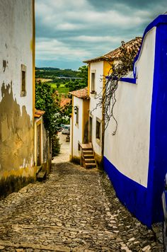 ~Street in Obidos, Portugal~ Portugal Places To Visit, Places To See, Spain And Portugal, Portugal Travel, Beautiful Places To Visit, Beautiful World, Travel Around Europe, Historical Monuments, Medieval Town