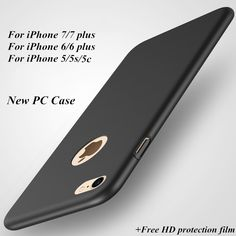 New High quality hard PC case for iPhone 5 5C 5S 6 6S Plus 7 7 Plus Ultra-thin Luxury Back cover Protective case + Free HD film