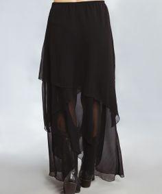 Black Ruffle Maxi Skirt - Women