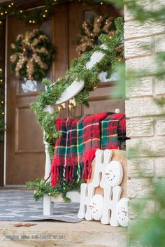 Outside Christmas Decor - use an old sled, plaid and more!